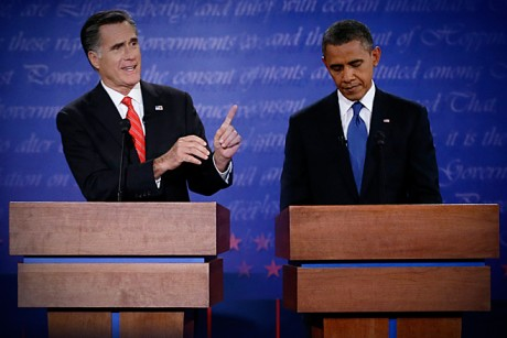 First Presidential Debate - 2012 election - Romney, Obama split screen