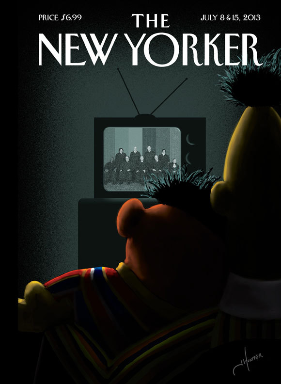 New Yorker Cover Story - Bert and Ernie - DOMA - Supreme Court - artist Jack Hunter